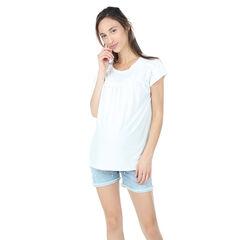 Camiseta premamá de manga corta con frunces y juego de pliegues