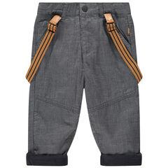 Pantalón con finas rayas con forro polar con tirantes