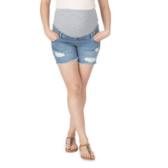 Pantalón corto vaquero con efecto desgastado y banda alta