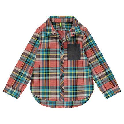 Camisa de algodón de fantasía con cuadros y bolsillo