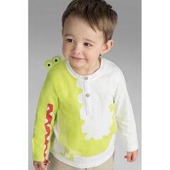 Camiseta de manga larga de punto con cocodrilo estampado y detalles de relieve