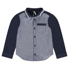 Camisa de manga larga de algodón fantasía con cuello de rayas