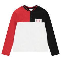 Júnior - Polo de manga larga tricolor con bolsillo estampado y cuello de estilo teddy