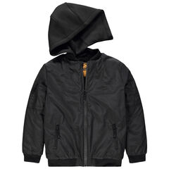 Júnior - Cazadora negra con capucha desmontable con Smiley estampado por detrás