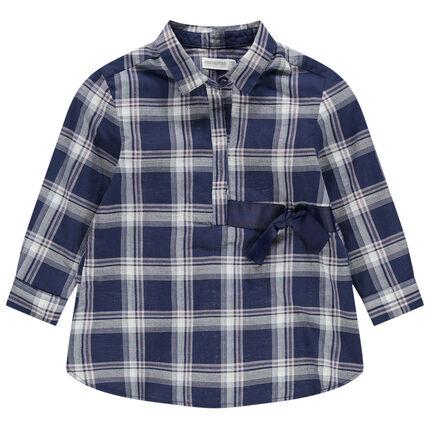 Camisa de manga larga con cuadros  y cordones de satén
