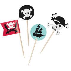 x 10 palillos para postres de cumpleaños de madera Pirata , Prémaman