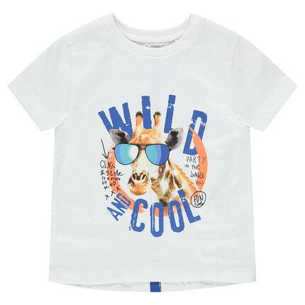 Camiseta de manga corta con estampado de jirafa