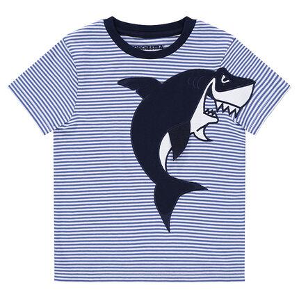 Camiseta de manga corta con tiburón bordado