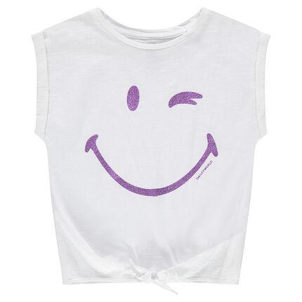 Camiseta de manga corta con forma cuadrada y estampado ©Smiley con lentejuelas