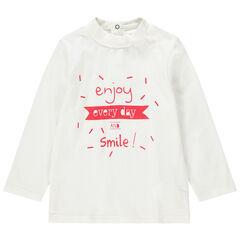 Camiseta interior de cuello alto y mensaje estampado de algodón ecológico.
