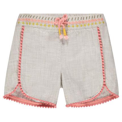 Pantalón corto de algodón de fantasía con bordados y pequeños pompones
