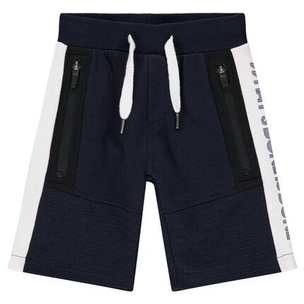 Júnior - Bermudas de felpa con bolsillos con cremallera
