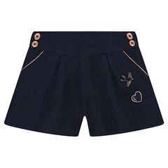 Pantalón corto oficial con parches cosidos y botones de fantasía