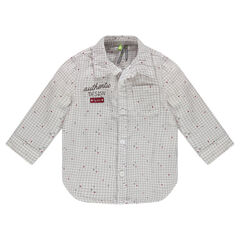 Camisa de cuadros pequeños con bordado