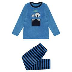 Pijama de borreguillo con monstruo cosido en la parte delantera