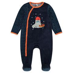 Pijama de terciopelo con parche de morsa