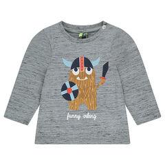 Camiseta de punto de manga larga con vikingo estampado