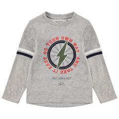 Camiseta jaspeada de manga larga con estampado de rayo
