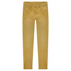 Júnior - Pantalón de sarga de corte slim con efecto desgastado y arrugado.