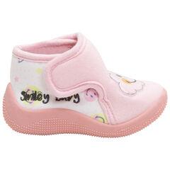Zapatillas de punto con parche con nube plastificado y estampado de Smiley