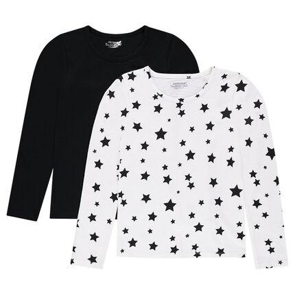 Júnior - Juego de 2 camisetas de manga larga lisa/con estampado de estrellas