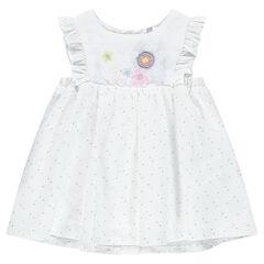 Vestido de tejido vaporoso de algodón con lunares, volantes y flores