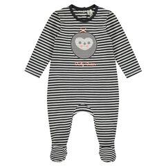 Pijama de punto de una pieza a rayas con parche de lechuza de lentejuelas