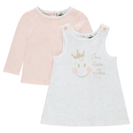 Conjunto vestido sin mangas y camiseta con estampado ©Smiley Baby