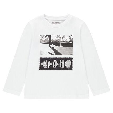 Camiseta de manga larga de punto con dibujos de lentejuelas mágicas