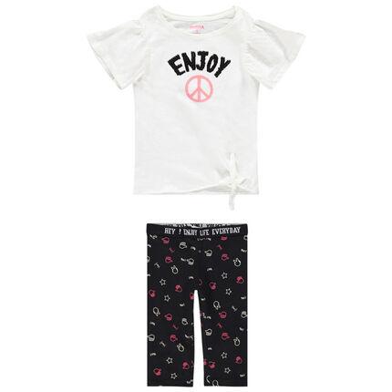 Conjunto con camiseta con mensaje de lentejuelas mágicas y pantalón corto estampado all over