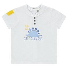 Camiseta de manga corta con estampado de dinosaurio y bolsillo en contraste
