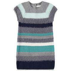 Vestido de manga corta de rayas azules y grises de punto de fantasía