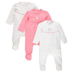 Pack de 3 pijamas con abertura adaptada según la edad