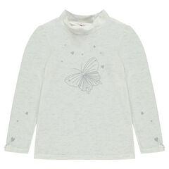 Camiseta de manga larga con mariposa estampada