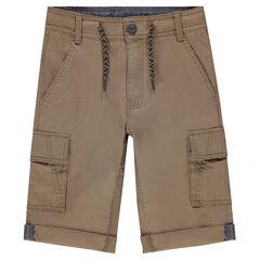Júnior - Bermudas de algodón marrón con bolsillos