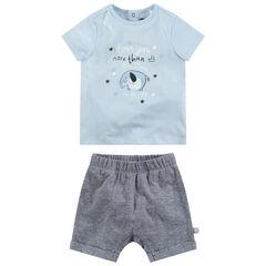 Conjunto con camiseta con elefante estampado y pantalón jaspeado
