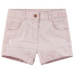 Pantalón corto con efecto arrugado y detalles de metal rosa dorado