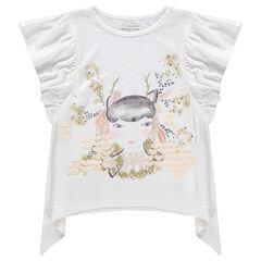 Camiseta de manga corta con volantes con personaxe estampado