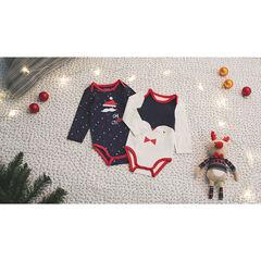Juego de 2 bodys de manga larga de estilo navideño con estampado all-over/estampado de pingüino