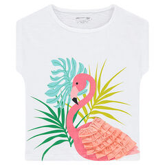 Camiseta de manga corta de forma cuadrada con flamenco rosa con volantes