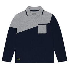 Júnior - Polo de manga larga bicolor con corte asimétrico y bolsillo