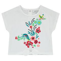 Camiseta de manga corta de punto con lazo y flores estampadas