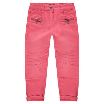 Pantalón de sarga skinny con juegos de pespuntes y cortes