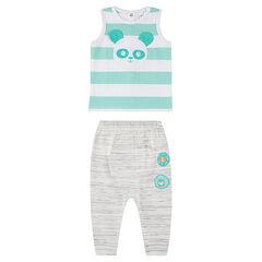 Conjunto con camiseta sin mangas de rayas con panda + pantalón holgado jaspeado