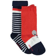 Juego de 2 pares de calcetines con animal y rayas de jacquard