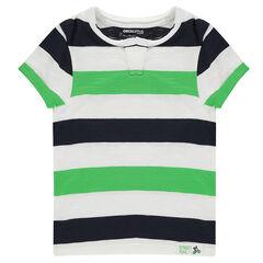 Camiseta de punto de manga corta con franjas que contrastan