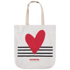 Tote bag de algodón reciclado y estampado de corazón y rayas