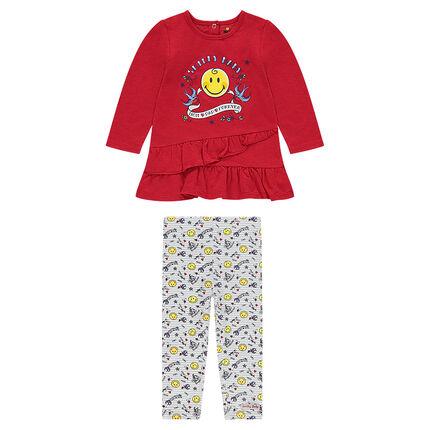 Conjunto de túnica con volantes y estampado ©Smiley y leggings con estampado all over