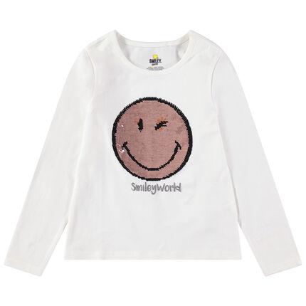 Camiseta de manga larga de punto con Smiley de lentejuelas mágicas