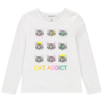 Camiseta de manga larga de algodón ecológico con estampado de fantasía de colores